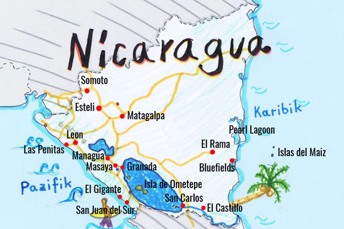 Nicaragua Backpacking Karte