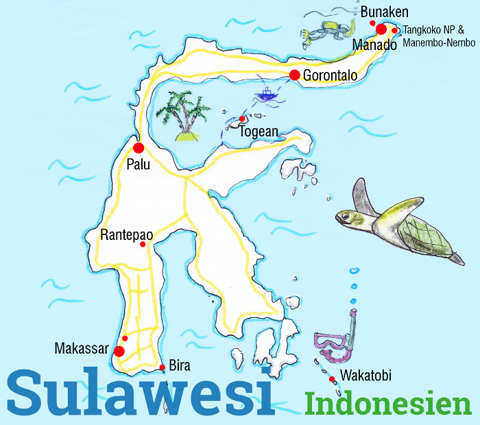 sulawesi backpacking karte