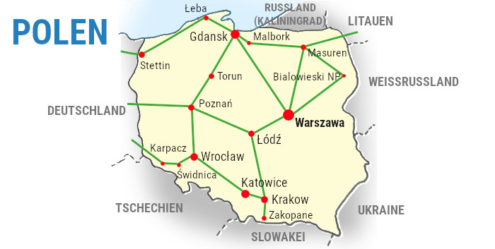 polen-backpacking-reiseroute-karte