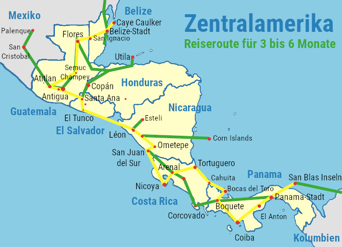 mittelamerika zentralamerika-reiseroute-karte
